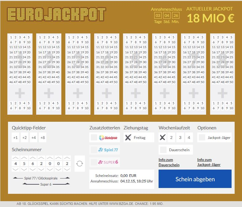 Lotto Eurojackpot Gewinnchancen